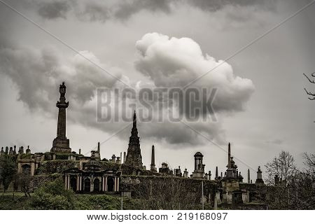 skyline view of the necropolis graveyard in Glasgow Scotland.