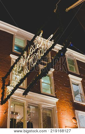 DUBLIN IRELAND - December 20th 2017: Christmas lights adorning he city center and Grafton Street