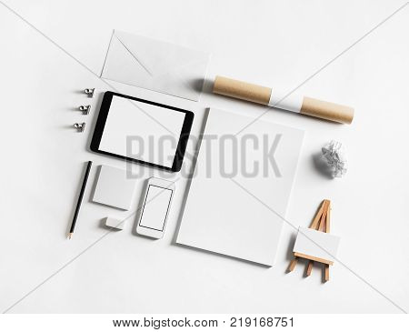 Set of blank stationery elements on paper background. Branding template. Photo of blank stationery. Mock-up for your design.