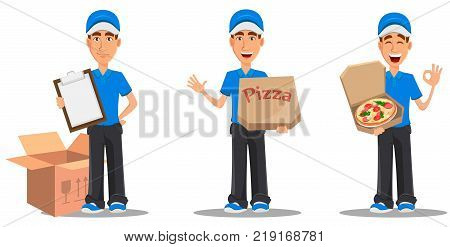 Set of smiling delivery man in blue uniform holding clipboard holding closed pizza box and holding opened pizza box. Vector illustration on white background.