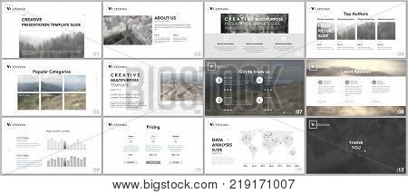 Minimal presentation templates. Simple geometric elements on white background for your portfolio template. Brochure cover vector design. Presentation slides for flyer, brochure, report, advertising