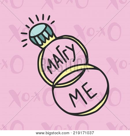 Cute vector card. Cartoon illustration wiht wedding rings and marry me quote.