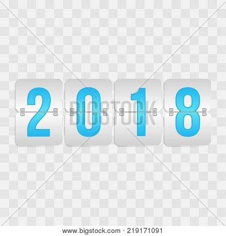 2018 Happy New Year Scoreboard icon. Winter holiday vector flip symbol for celebration decoration illustration design. Blue and gray gradient sign on transparent background