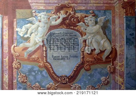 BELEC, CROATIA - JULY 09: Fresco painting on the ceiling of the Baroque Church of Our Lady of the Snow in Belec, Croatia on July 09, 2016.