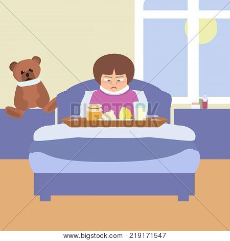 sad kid with grandma's remedies tray - funny vector cartoon illustration of sick child in flat style