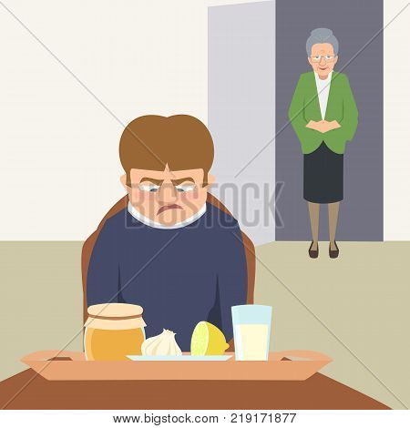 sarcastic person looking at grandma's remedies tray - funny vector cartoon illustration of folk medicine in flat style