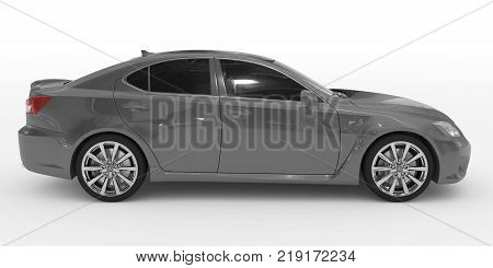 car isolated on white - gray paint, tinted glass - right side view - 3d rendering