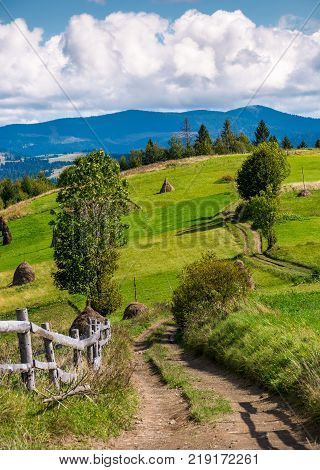 country road through rural hill of Carpathians. haystacks and wooden fence on agricultural field. beautiful autumn landscape with mountain ridge in a distance