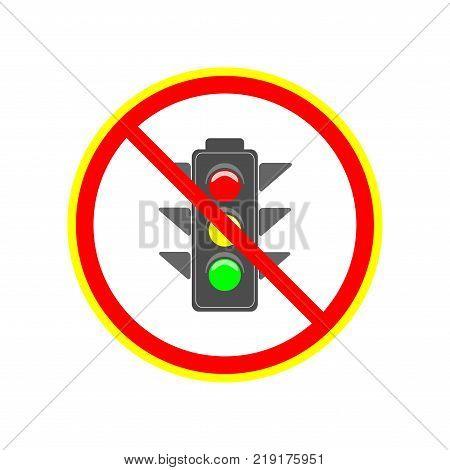 No stoplight sign. Icon traffic lightin red circle. Symbol no regulate movement safety and warning. Electricity semaphore no adjust transportation on crossroads urban road. Flat vector illustration.