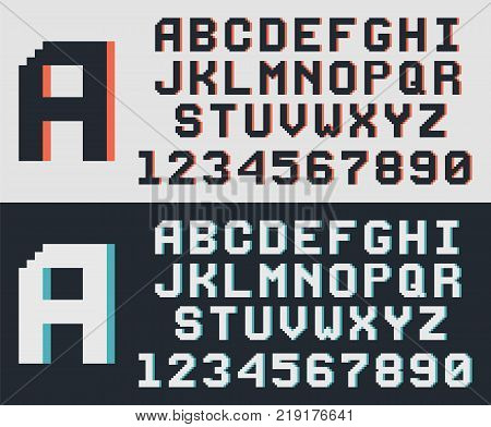 Pixel video game font, retro 8-bit letters and numbers