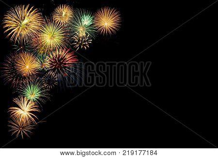 Festive fireworks display for celebration, copy space