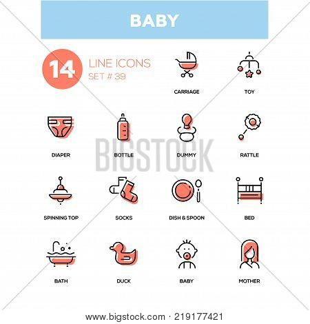 Baby - line design icons set. Everything about maternity and kids. Carriage, toy, diaper, bottle, dummy, rattle, spinning top, socks, dish, spoon, bath, duck, bed, baby, mother