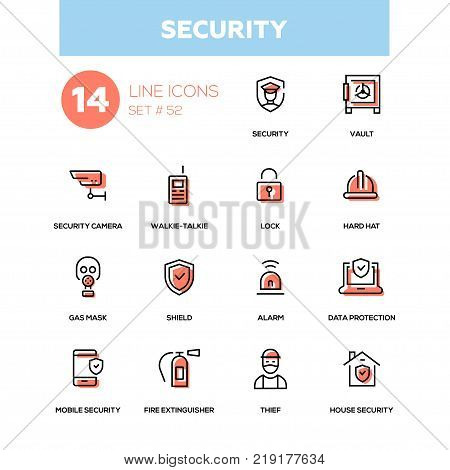 Business concept, security - line design icons set. Camera, vault, walkie-talkie, lock, hard hat, gas mask, shield, alarm, data protection, mobile, fire extinguisher, thief, house security
