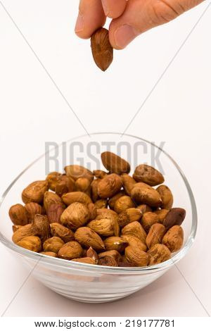 person dropping pealed hazelnuts to the glass bowl