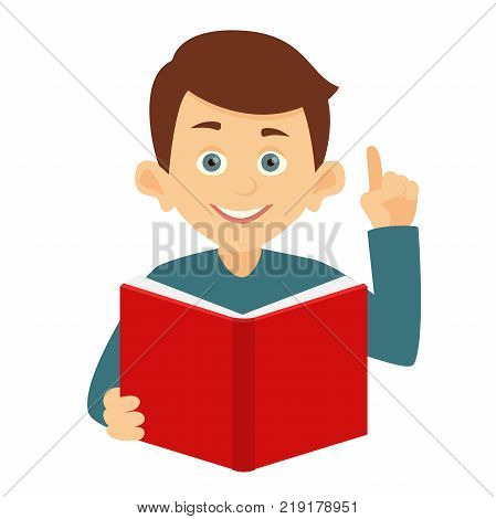 boy having an idea, vector illustration isolated on white background. portrait of a young boy reading a red book. the boy had an idea and he raised his hand. Online education. Online learning.