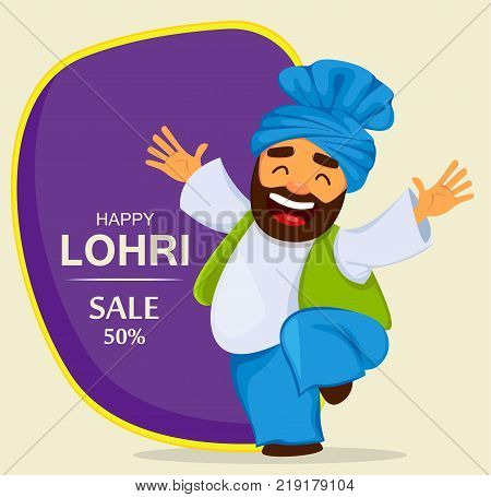 Popular winter Punjabi folk festival Lohri. Funny dancing Sikh man cartoon character for sale banner poster. Vector illustration on abstract background