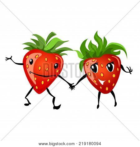Strawberry having fun. Cartoon illustration of berries. Funny positive and friendly strawberry emoticon face food emoji. Icon comical fruit