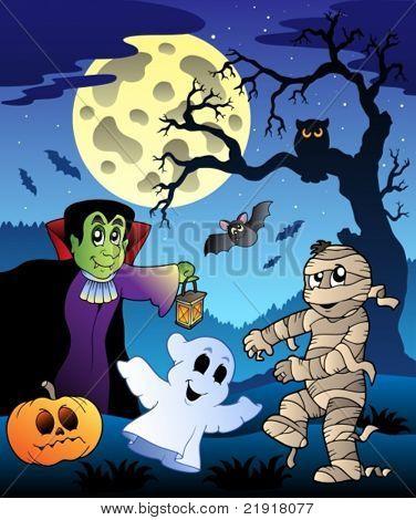 Scene with Halloween tree 4 - vector illustration.