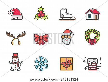 Hat and mistletoe, Santa Claus and reindeers horns, snowflake and present with chimney, icons devoted to Christmas time, vector illustration