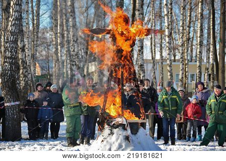 TULA RUSSIA - MARCH 3 2016: Traditional burning of Maslenitsa Scarecrow on seeing Russian winter on last day of Shrovetide