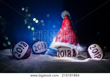 New Years Eve Celebration Background With New Year Elements Or Symbols. Decoration For Greeting Card