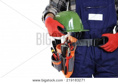 Young Electrician Technician In Workwear Isolated On White Background.
