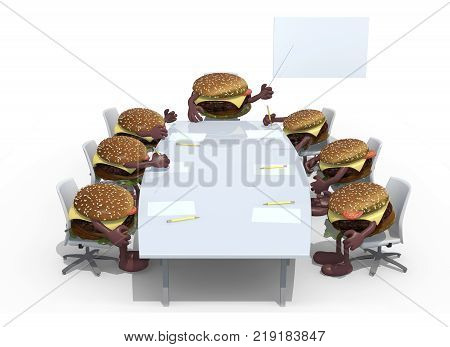 Many Hamburger Meeting Around The Table And Follow Their Boss