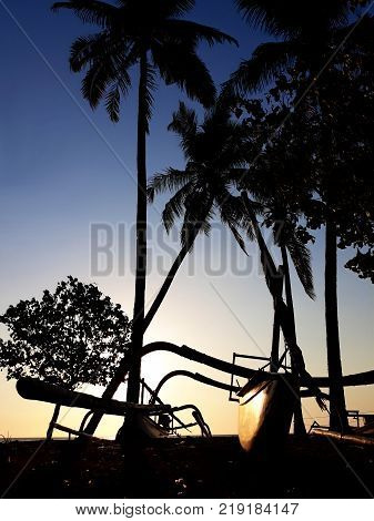 Warm tropical sunset with palms and catamaran silhouette