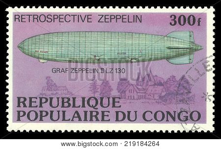 Congo - CIRCA 1977: stamp printed by Congo Multicolor memorable edition offset printing on Topic Retrospective of Aviation Shows aircraft Graf Zeppelin II LZ 130