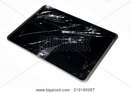 broken touchpad isolated on white background close up