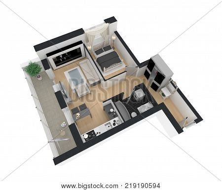 3d rendering of furnished home apartment plan