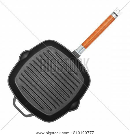 Empty square grill pan isolated on white background closeup top view