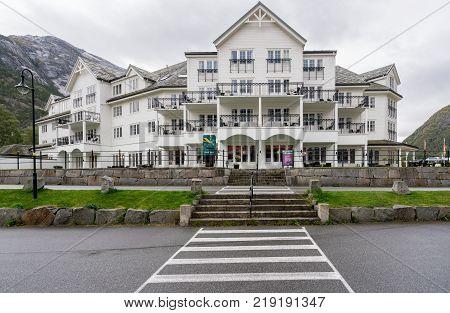 EIDFJORD, NORWAY - 21 SEPTEMBER 2017: Quality Hotel on the quayside in Eidfjord in Norway