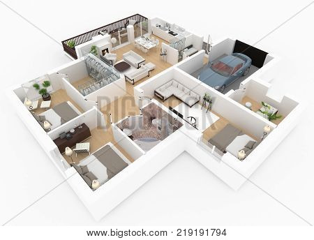 3d render of furnished home apartment plan