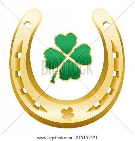 HAPPY NEW YEAR symbol - four leaf clover and golden horseshoe correctly with the open side up to attain happiness, success, wealth, fortune, health, prosperity and luck next year.
