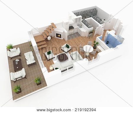 1 floor plan of furnished house apartment 3d render