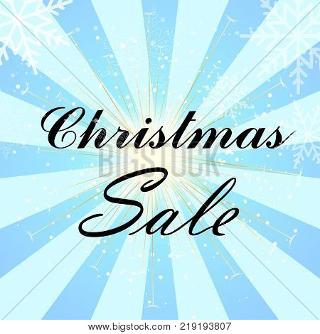Christmas sale poster with sun rays and sparkles. Vector.