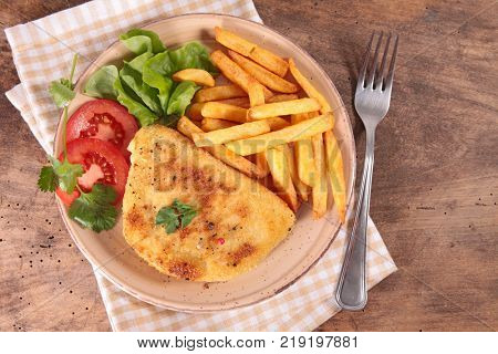 cordon bleu and french fries