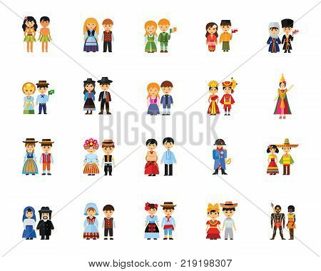 National costumes icon set. Can be used for topics like traditional clothing, fashion, travelling, culture