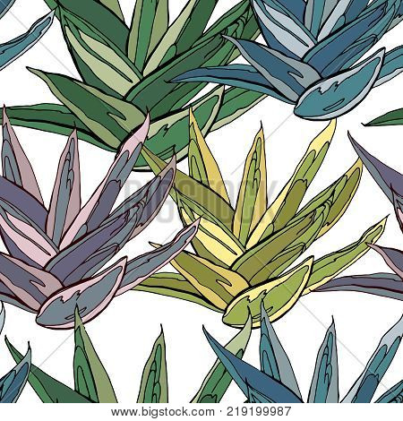 Seamless Pattern With Traditional Homeplant Agave. Endless Texture With Flower Used Indoor.