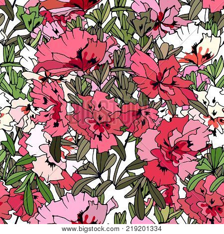 Seamless Pattern With Traditional Homeplant Azalea. Endless Texture With Flower Used Indoor.