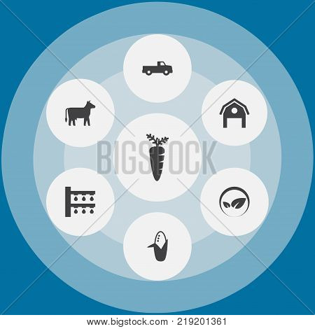 Collection Of Ecology, Kine, Water Sprinkler And Other Elements.  Set Of 7 Harvest Icons Set.