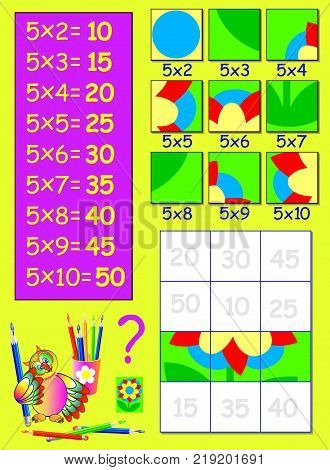 Exercise for children with multiplication by five. Need to paint the squares in relevant color. Logic puzzle game. Vector image.