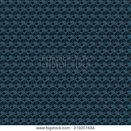 Abstract seamless isometric blue cubes. Background pattern. 3d rendering