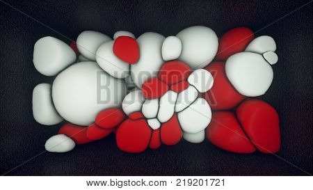 3D rendering of white and red floating spheres. Abstract composition. Group of spheres levitate in zero gravity