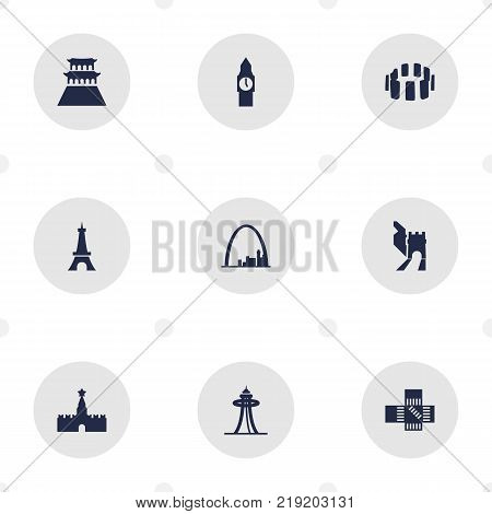 Collection Of China, Japan, Prehistoric Britain And Other Elements.  Set Of 9 Monument Icons Set.