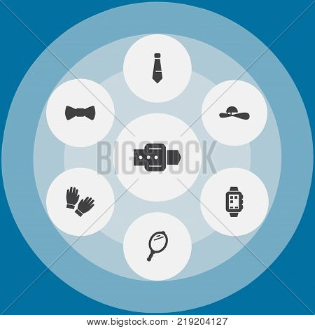 Collection Of Smart Watch, Bow Tie, Strap And Other Elements.  Set Of 7 Decorating Icons Set.