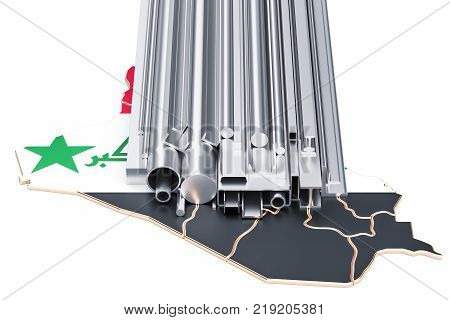Trade of metal products in Iraq concept. 3D rendering isolated on white background