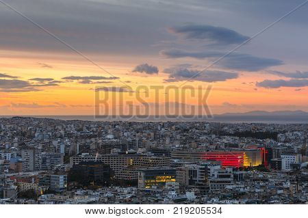 ATHENS, GREECE - DECEMBER 18, 2017: View of Athens from Filopappou Hill at sunrise, Greece on December 18, 2017.