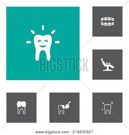 Collection Of Dental Crown, Stabilize, Procedure And Other Elements.  Set Of 6 Dental Icons Set.